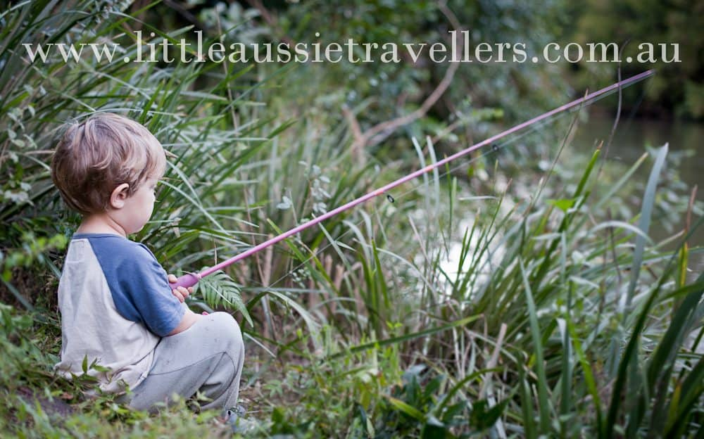 camping with kids and fishing