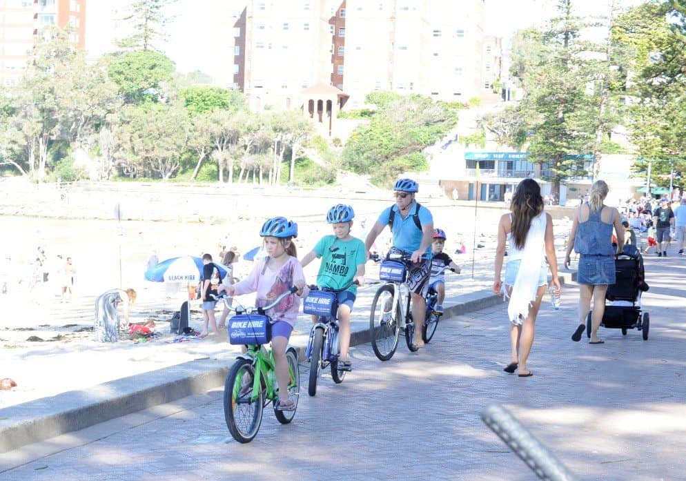 bike riding in manly with kids