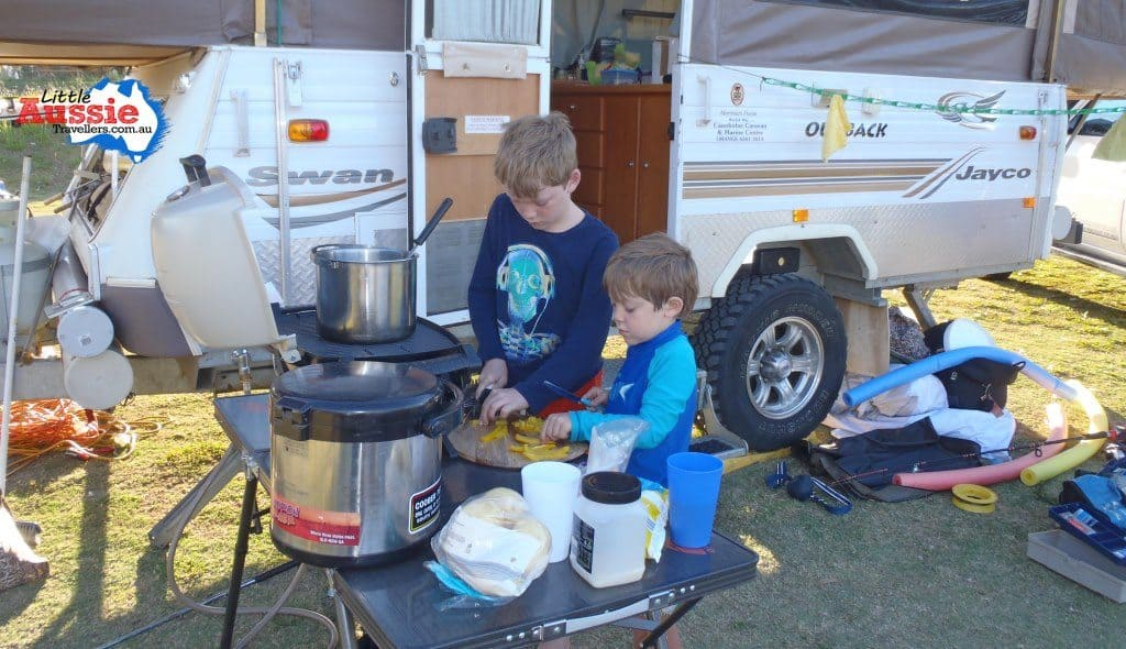cooking with kids when camping