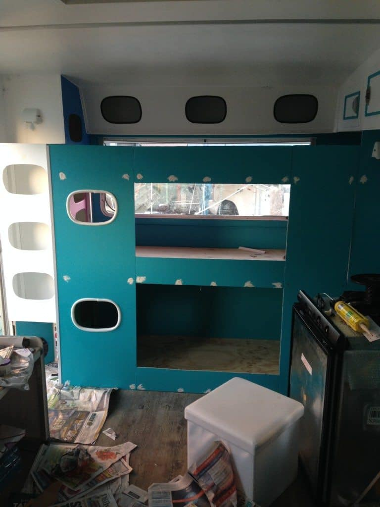 caravan renovation triple bunk