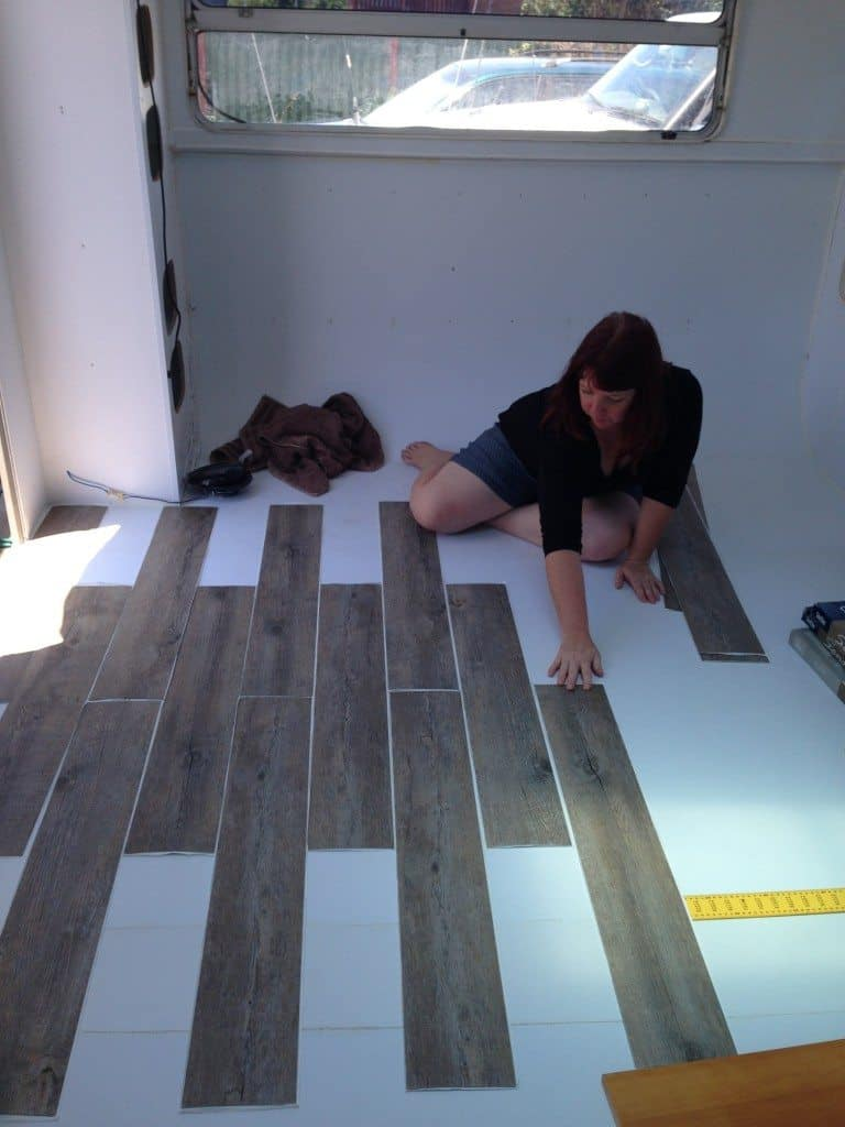 laying new floor, caravan renovating