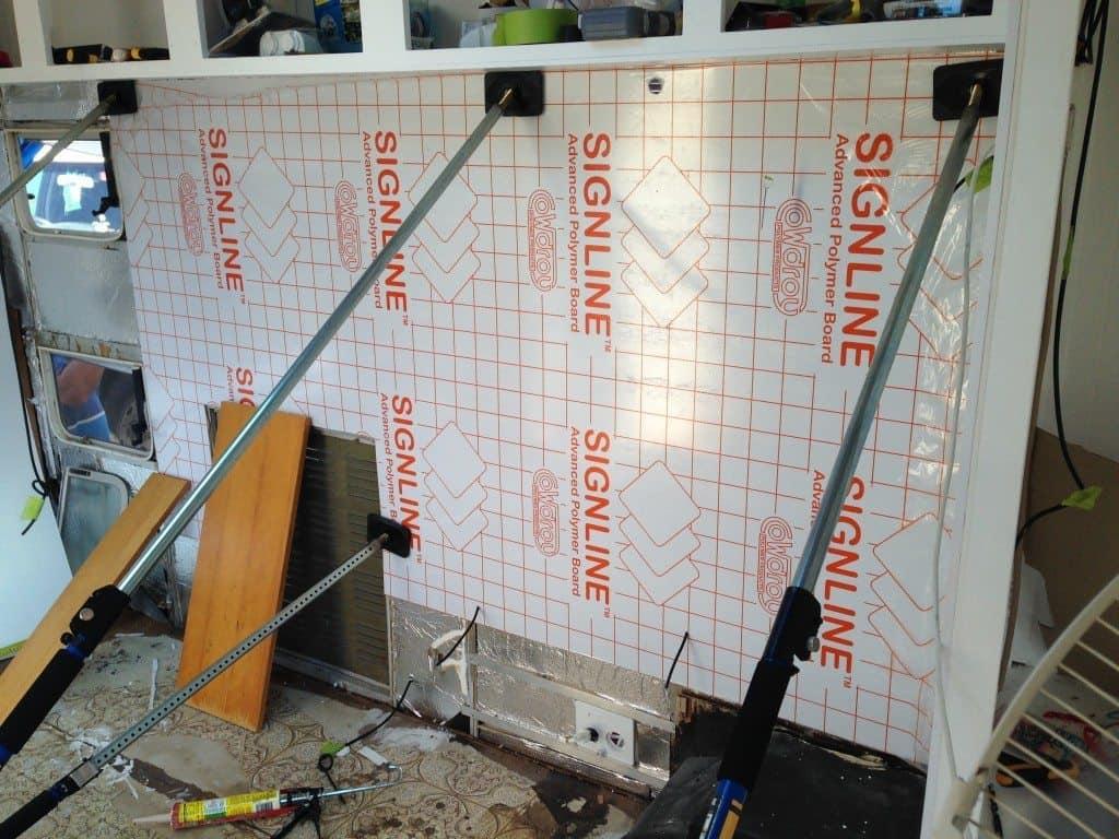 caravan renovation lining walls