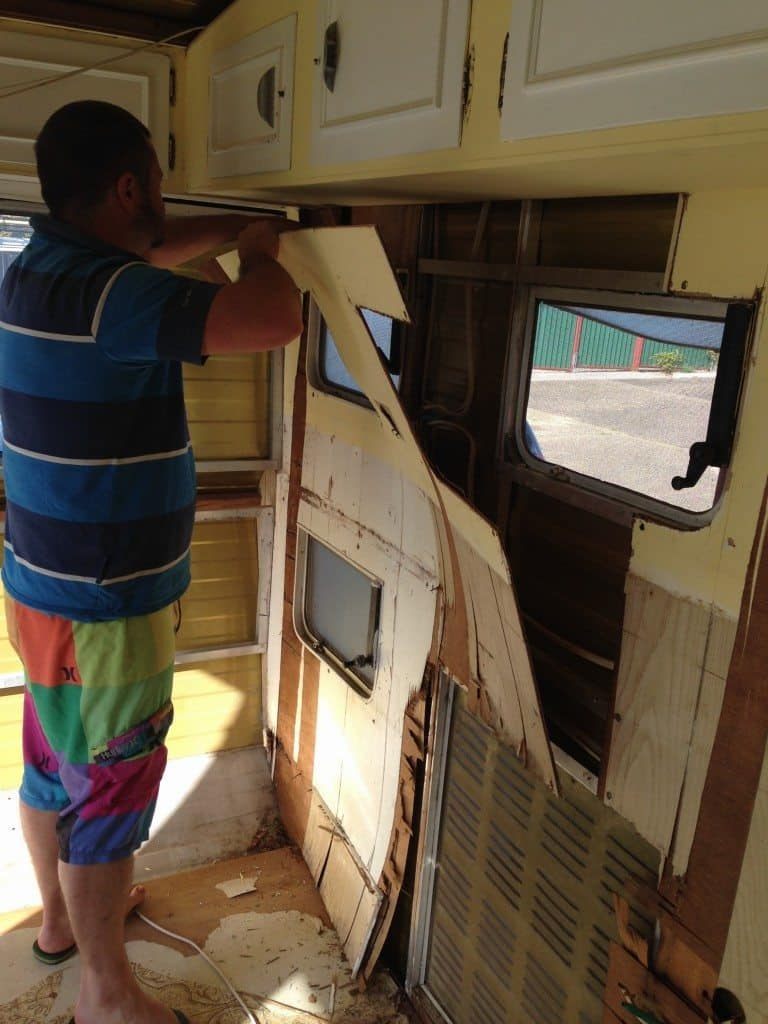 stripping out caravan internal lining